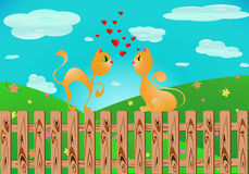 Сats falling in love. (vector) Royalty Free Stock Images