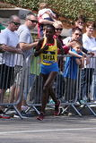 Atsede Baysa races up the Heartbreak Hill during the Boston Marathon April 18, 2016 in Boston. Royalty Free Stock Images