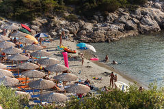 Atspas Beach, Thassos. June 22. Located on the west side of Thassos, just outside Skala Maries and the road to Limenaria. Royalty Free Stock Photo