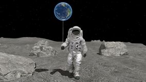 Atsronaut with a ball in the shape of the Earth is walking on the moon. Elements of this video furnished by NASA. 3d