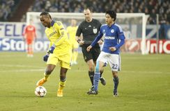 Atsuto Uchida and Didier Drogba FC Schalke v FC Chelsea 8eme Final Champion League Stock Photography