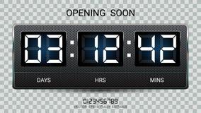 Att återstå för nedräkningtidmätare eller funktionskortet för klockaräknaren med dagar, timmar och minuter visar för webbsidan so vektor illustrationer