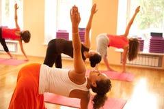 Att öva på yoga klassificerar Arkivbild
