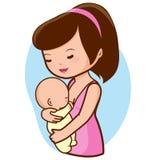 Att amma för moder behandla som ett barn Arkivfoto
