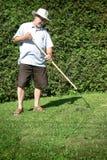 att arbeta i trädgården krattar Royaltyfri Bild