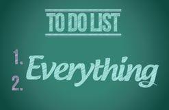 Att att göra allt. att att göra listaillustrationen Arkivbilder