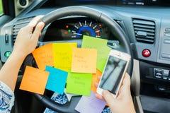 Att att göra listan i en bil Arkivbild