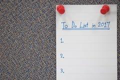 Att att göra listaplan i 2017 Arkivfoto
