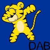 Att badda för klick poserar tigerungetecknade filmen royaltyfri illustrationer