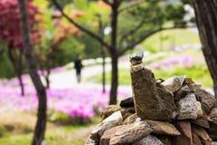 Att balansera för Zen vaggar i härligt parkerar Fotografering för Bildbyråer