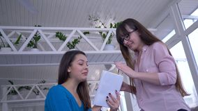 Att banta och folket, lyckliga flickor som talar ha gyckel under lunch i hemtrevligt kafé och, skriver bantar ner plan med syfte  stock video