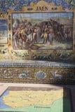 Att belägga med tegel i Plaza de Espana i Seville byggdes för denAmericana Exposicionen 1929 Arkivbild