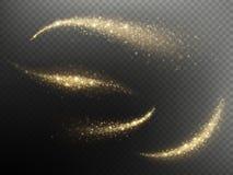 Att blänka skimrar partiklar som ljus spårar för ferie för jul eller för nytt år Guld- blänka effekt för konfettivågsamkopieringe vektor illustrationer