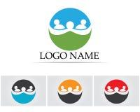 Att bry sig det fackliga gemenskapfolket för familjen logo- och symbolmallen Royaltyfri Fotografi