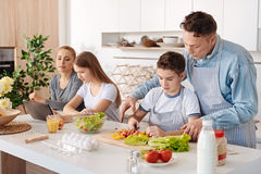 Att bry sig fadern som teching hans son för att laga mat royaltyfri foto