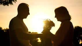 Att bry sig mannen som framlägger blommor till kvinnan på solnedgången, bröllopsdag, förälskelse arkivbilder