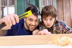 Att bulta för fader och för son spikar i träplanka Royaltyfri Bild