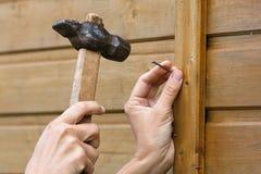 Att bulta för händer spikar i plankan, closeup arkivfoton