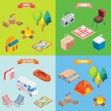 Att campa anmärker i isometrisk stil för vektor Plan isometrisk design 3d Familjsemester som fotvandrar, picknick, billopp läger Arkivfoton