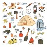 Att campa fotvandra f?rgade symboler skissar stilupps?ttningen Campa utrustningvektorsamling Kikare bunke, grillfest, lykta stock illustrationer
