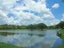 Att cykla runt om historiska Sukhothai parkerar Arkivfoton