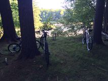 Att cykla vilar område Arkivfoton