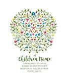 Att döpa inviterar - inbjudanmallen med duvan och blommor royaltyfri illustrationer