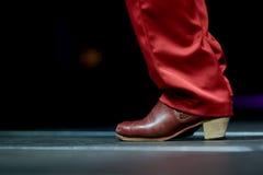 Att dansa skor fot och lägger benen på ryggen manlig dansflamenco för tryck Arkivfoto