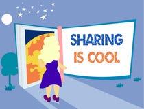 Att dela för ordhandstiltext är kallt Affärsidéen för att ge och att få kunskapsservice eller gods är enorm fotografering för bildbyråer