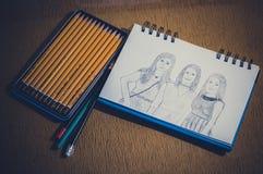 Att dra skissar Fotografering för Bildbyråer