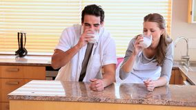 Att dricka för par mjölkar tillsammans stock video