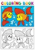 Att färga bokar med marin- djur 8 Arkivbilder