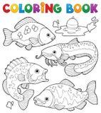 Att färga bokar sötvattensfiskar 1 royaltyfri illustrationer