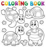 Att färga bokar sköldpaddatema 1 Arkivfoton