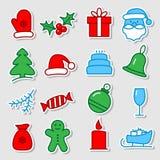 att fästa för jul ihop innehåller digitala inställda symbolsillustrationbanor royaltyfri illustrationer