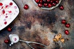 Att förbereda grillad körsbärsröd glass för den svarta skogen skjuter in med choklade kakor Kopieringsutrymme, över huvudet bästa Arkivbild