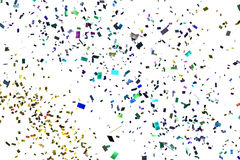 Att falla som är färgrikt, blänker foliekonfettier, färgar på vit bakgrund, ferie och festlig gyckel fotografering för bildbyråer