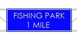 Att fiska parkerar etiketten Arkivbild