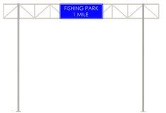Att fiska parkerar etiketten på vägen Royaltyfria Bilder