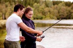 att fiska undervisar Fotografering för Bildbyråer