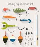 Att fiska uppsättningen av tillbehör för roterande fiske med crankbait lockar och bedragare och den mjuka plast- betefiskeflötet stock illustrationer