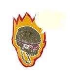 att flamma för tecknad film piratkopierar skallen med anförandebubblan Royaltyfria Bilder
