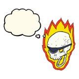att flamma för tecknad film piratkopierar skallen med tankebubblan Royaltyfri Foto