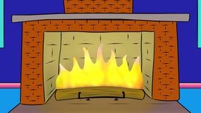 Att flamma loggar in spisen cartoon royaltyfri illustrationer