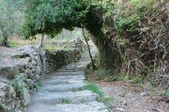 Att fotvandra släpar Cinque Terre royaltyfria foton