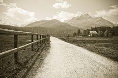 Att gå runt om Sils sjön i den övreEngadine dalen Schweiz - Europa - sepia tonade royaltyfria bilder