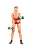 att göra kondition weights kvinnan Royaltyfri Foto