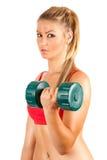 att göra kondition weights kvinnan Royaltyfri Fotografi