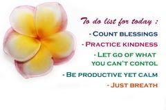 Att att göra listan för idag - räkningsvälsignelser, övningsvänlighet, låter går av vad du inte kan kontrollera, är produktiv änn royaltyfri bild