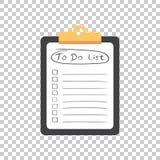 Att göra listasymbolen med den drog handen smsa Kontrollista vecto för uppgiftslista Arkivbild